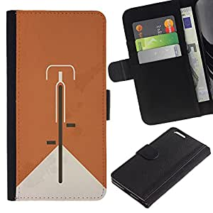 KingStore / Leather Etui en cuir / Apple Iphone 6 PLUS 5.5 / Bicicleta Naranja Hipster minimalista Alternativa