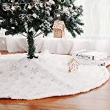 Kaximd Christmas Tree Skirt 30/36/49 inches Xmas White Tree Skirts Snowflake Embroidery for Christmas Decorations Holiday Party 198 Silver 78