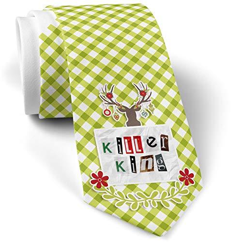 Green Plaid Christmas Neck Tie Killer King Ransom Blackmail Letter gift for men