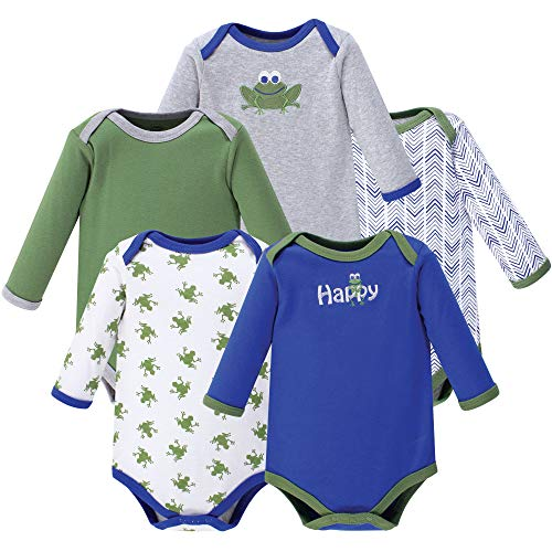 Luvable Friends Unisex Baby Long Sleeve Cotton Bodysuits, Frog 5 Pack, 3-6 Months (6M) ()