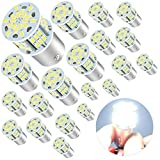 Deponstar-20 x Super Bright 1156 1141 1003 1073 BA15S 7506 54-SMD LED Replacement Light Bulbs for RV Indoor Lights 6000K,Xenon White