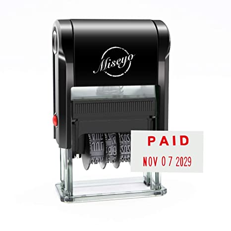Amount Miseyo Paid Stamp Self Inking With Date Red Ink Check