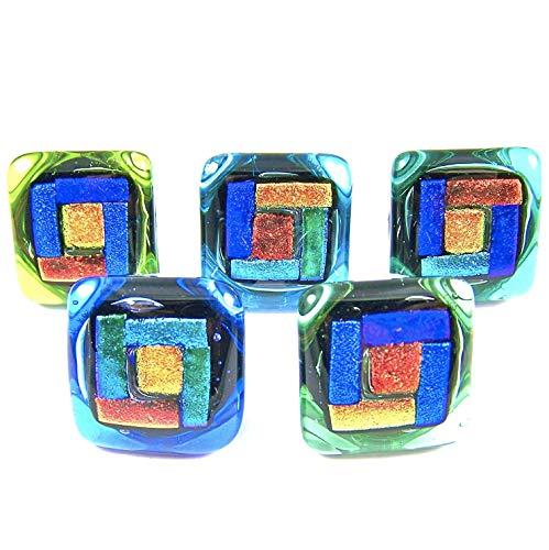 Dichroic Glass Knobs Custom Made Craftsman Geometric Blocks - Cabinet or Drawer Pull Handle - 1