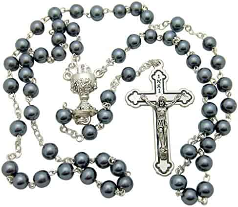First Holy Communion Rosary Beads with Metal Crucifix & Center For Boys or Girls