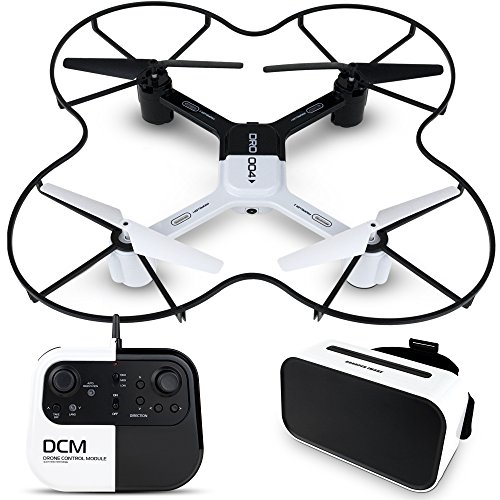 - SHARPER IMAGE DRO-004 Lunar Drone with Smartphone Viewing, Virtual Reality Platinum Series, 2.4GHz HD Streaming Video, 720p RC Quadcopter, Autopilot System – White/Black