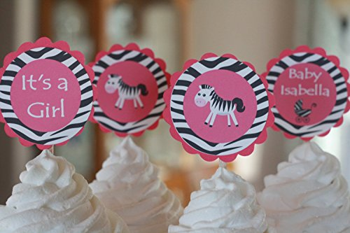 12 - Zebra Animal Jungle Zoo Baby Shower Cupcake Toppers - Hot Pink & Black Zebra Print - Party Packages & Favor Tags, Banners, Door Signs Available