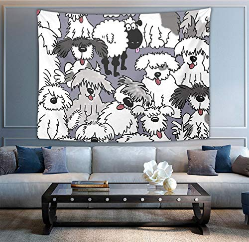 NiYoung Tapestry Mandala Hippie Bohemian Tapestries Wall Hanging Old English Sheepdogs Tapestry Wall Hanging Indian Dorm Decor 50 x 90 Inches