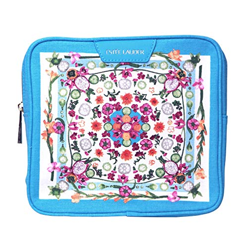 Estee Lauder Purse Cosmetic Makeup Pouch Travel Tolietry Kit Bag~blue Floral