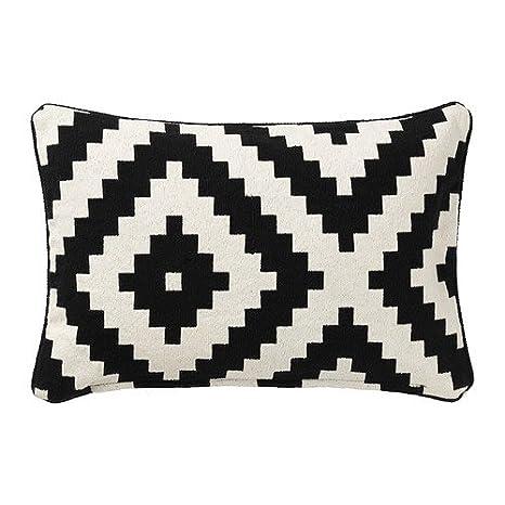 IKEA LAPPLJUNG RUTA - Funda de cojín, blanco / negro - 40x60 ...