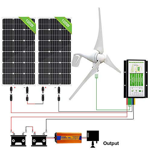 ECO-WORTHY 600 Watts 24V Solar Wind Turbine Generator Kit: 1pc 400 Watt Wind Turbine + 2pcs 100W Mono Solar Panel + 1pc Solar Wind Hybrid Controller + 1pc 1500W 24V Inverter