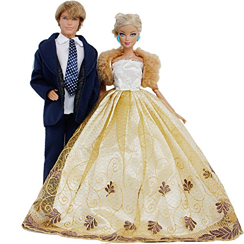 BJDBUS Wedding Set Groom Formal Outfit with Tie Business Suits and Bridal Veil Strapless Dress Fur Waistcoat Ball Party Gown Clothes for Girl Boy Dolls Gift