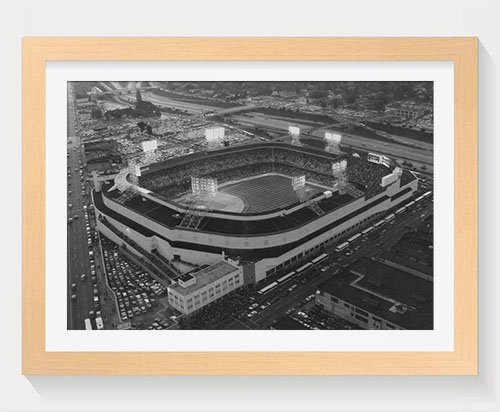 PUPBEAMO Old Tigers Stadium, Detroit, Mi - Art Print Wood Frame Picture Prints Wall Art Home Decoration - Black and White (Wood Color,20x14 Inches) (Old Tiger Stadium Detroit)