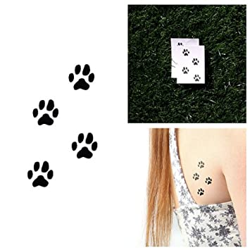 Dog Paw Prints Temporary Tattoo Set Of