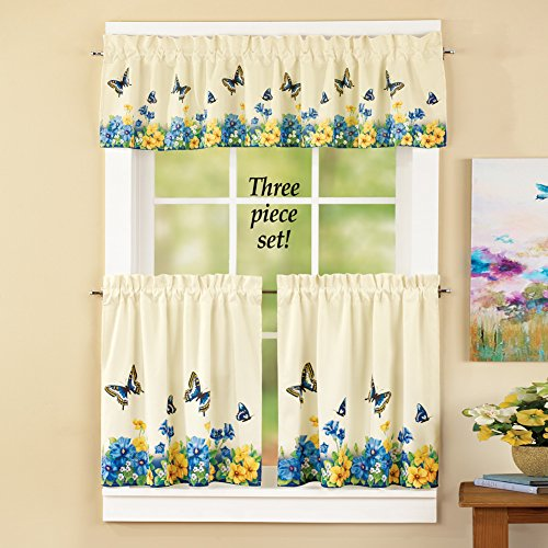 Vintage Butterfly and Flowers Cafe Curtain Set ( 24