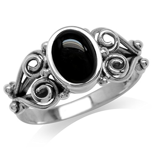 Created Black Onyx Antique Finish 925 Sterling Silver Victorian Style Ring Size 12 (Created Antique Style Ring)