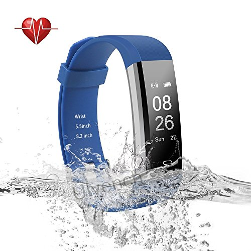 Ulvench Fitness Tracker, Heart Rate Monitor Smart Watch with Calorie Counter Watch Pedometer Sleep Monitor, Step Counter, GPS, IP67 Waterproof Activity Tracker for Android&iOS Smartphone (Blue)