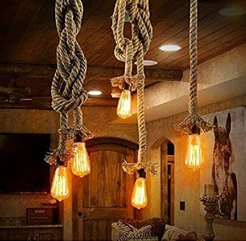 Borang Double Heads Retro Rope Lights Loft Vintage Lamp Bedroom Dining Room Pendant Hand Knitted Hemp Rope 300 cm(118 inch)