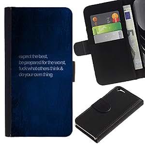 """Apple (4.7 inches!!!) iPhone 6 , la tarjeta de Crédito Slots PU Funda de cuero Monedero caso cubierta de piel ("""" Blue Love Quote Message Paint Wallpaper"""")"""