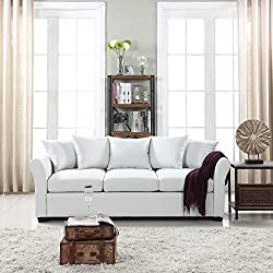 Classic and Traditional Ultra Comfortable Linen Fabric Sofa - Living Room Fabric Couch (Beige)