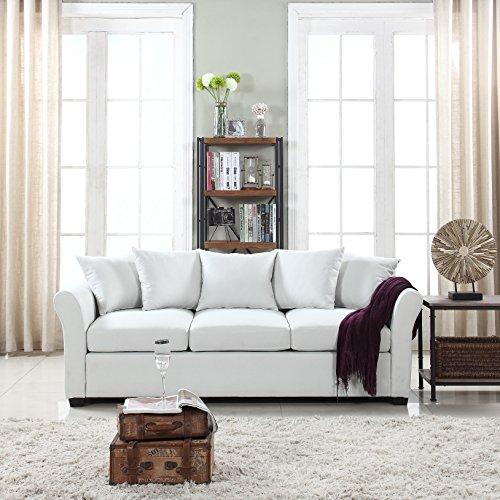 DIVANO ROMA FURNITURE Classic and Traditional Ultra Comfortable Linen Fabric Sofa - Living Room...