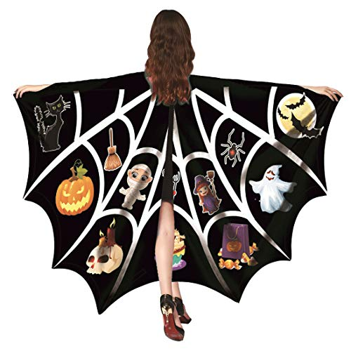 Shireake Baby Halloween/Party Prop Soft Fabric Butterfly Wings Shawl Fairy Ladies Nymph Pixie Costume Accessory ... (168x130CM, Black and White bat) -