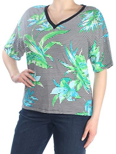 LAUREN RALPH LAUREN Womens Floral Striped T-Shirt B/W XL