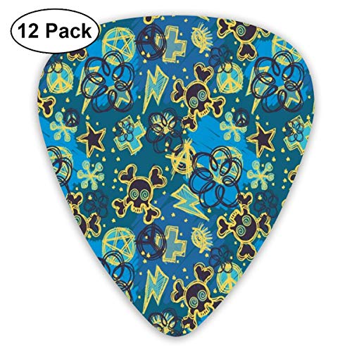(Guitar Picks - Abstract Art Colorful Designs,Cool Retro Symbols Pattern Skulls With Bones Thunder Bolt Peace Sign,Unique Guitar Gift,For Bass Electric & Acoustic Guitars-12 Pack)