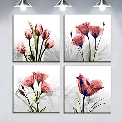 Flowers Canvas (Moyedecor Art - 4 Panel Elegant Tulip Flower Canvas Print Wall Art Painting For Living Room Decor And Modern Home Decorations (Four 12X12in, Red flower prints framed))