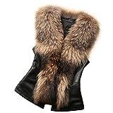 Women Faux Fur Vest Fluffy Warm Long Coat Leather Jacket Cloak Aurorax Outwear Vest (Brown, S)