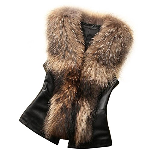 Women Faux Fur Vest Fluffy Warm Long Coat Leather Jacket Cloak Aurorax Outwear Vest (Brown, S) by auroraX