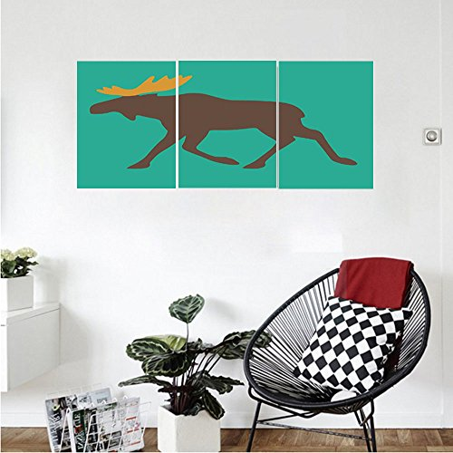 Liguo88 Custom canvas Moose Decor Moose with Antlers Illustration Deer Family Cute Creature Artisan Design Wall Hanging for Bedroom Living Room Turuquoise Brown