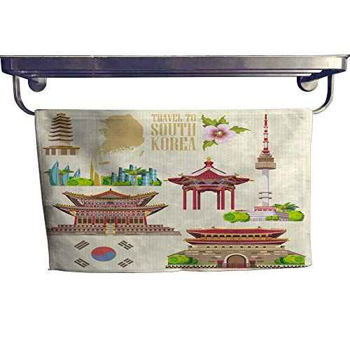 ach Towel,South Korea Travel Set pagodas Traditional Signs ,Absorbent, Machine Washable, Towel W 23.5