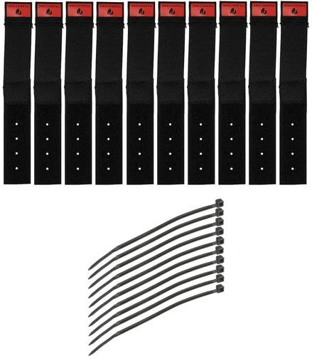 Black, 10-Pack Pearstone 0.5 x 6 Touch Fastener Straps