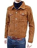 Mens Corduroy Western Denim Jacket Retro Vintage Style Ginger Tan Beige Cord Coat (XXL)