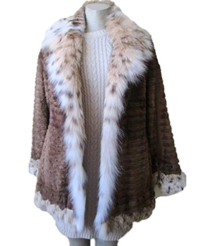 Women's Size 8 New Brown Sheared Beaver Fur Coat Jacket Stroller with Lynx Fur Collar and Trims