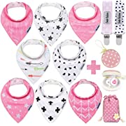 Baby Bandana Drool Bibs by Dodo Babies + 2 Pacifier Clips + Pacifier Case In a Gift Bag, Pack of 8 Premium Quality For Girls , Excellent Baby Shower / Registry Gift
