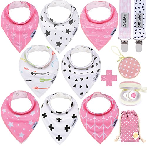 Baby Bandana Drool Bibs by Dodo Babies + 2 Pacifier Clips + Pacifier Case In a Gift Bag, Pack of 8 Premium Quality For Girls , Excellent Baby Shower / Registry Gift from Dodo Babies