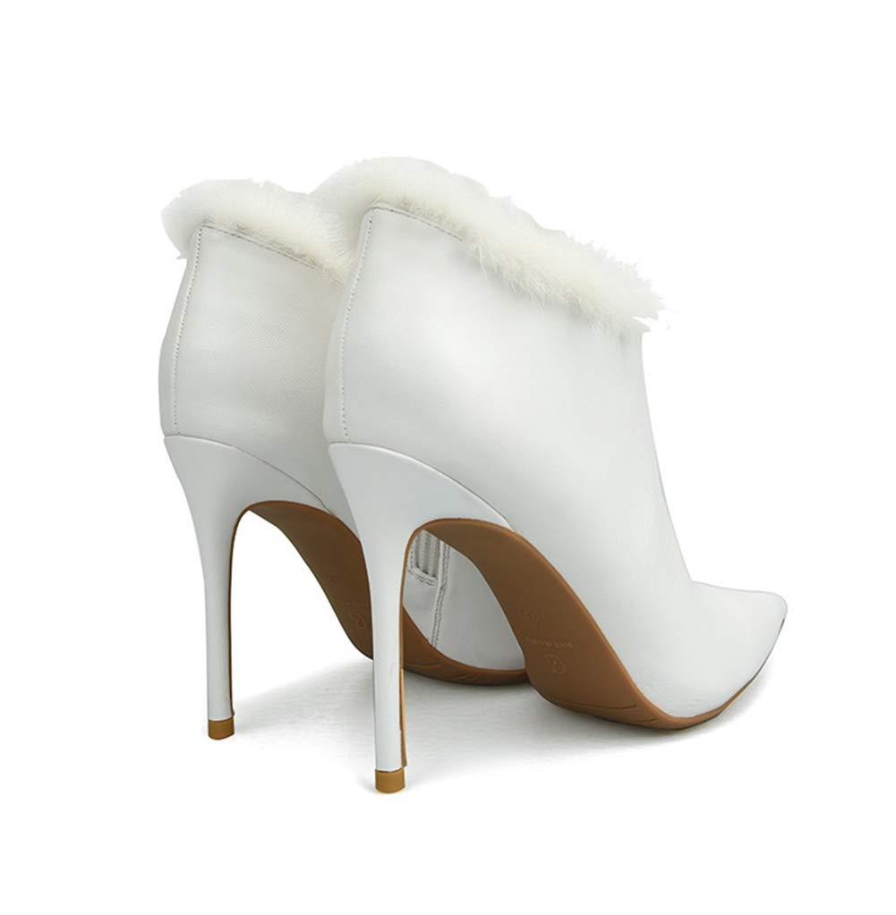 Frauen Damen Hochzeit Knöchel Stiefel Mode Mode Stiefel Spitzschuh Stilett Absatz Leder Schwarz rot Weiß Party Abend Kleid Größe 35-42 Weiß 5cc7e3