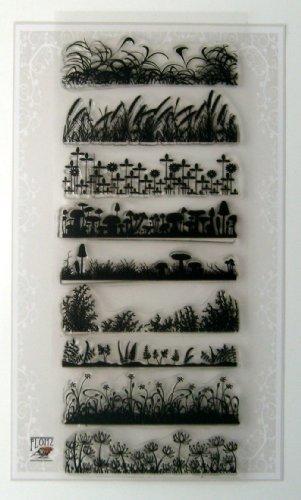 "Grass Border Stamps Sheet 4""x6"" Vintage Art Deco FLONZ"