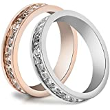 Couples Gold/Silver Plated Crystal Ring Engagement Wedding Band Rings Jewelry WelcomeShop (silver-9)