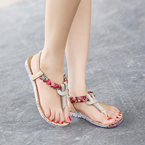 FEITONG Mujer Bohe Rhinestone Moda Plano Talla grande Sandalias Casual Playa Zapatos Rojo