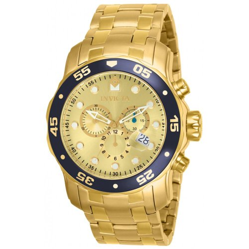 Chronograph Dial Champagne (Invicta Mens Pro Diver Scuba Swiss Chronograph Champagne Dial 18k Gold Plated Watch 80068)