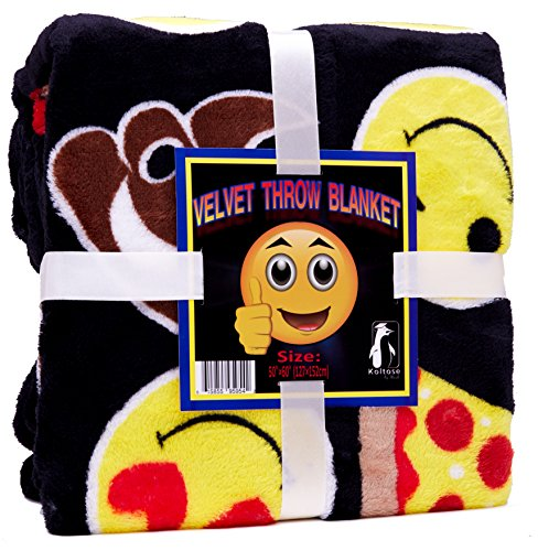 Koltose by Mash Velvet Emoji Fleece Plush Throw Blanket, Super Soft Large Oversized Cozy Lightweight Emoticon Blanket for Toddlers Kids Teens and Young Adults (50in x 60in) -