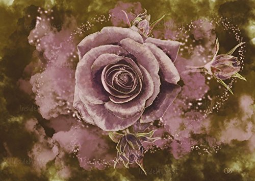 Enchanted Rose Watercolor Flower Floral Painting Print Dusty Pink Dusky Rose Blush Vintage Art Deco Poster Magical A3 16x11 ()