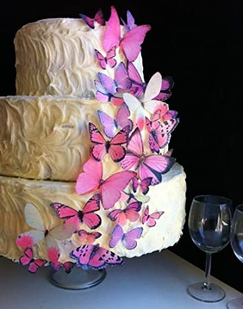 Amazon edible butterflies assorted set of 30 pink cake edible butterflies assorted set of 30 pink cake decorations cupcake topper junglespirit Choice Image