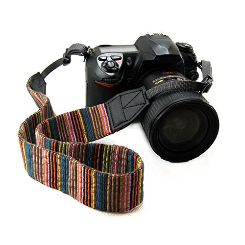 CHMETE Bohemia Vintage Universal Adjustable Camera Camcorder Shoulder Neck Strap Belt with Harness Adapter Fits for DSLR - Strap Wide Canon