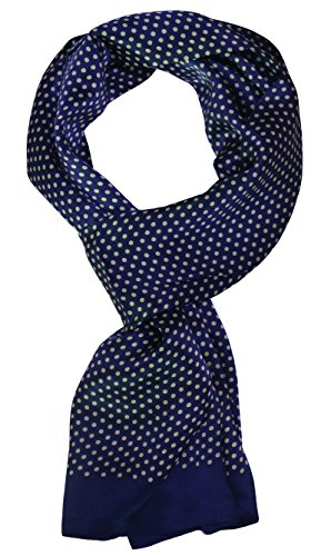 Ellettee, 63'' x 11'' Man's 100 Pure silk scarf wrap Accessory gift (BlueWhite Polkadot) by Ellettee