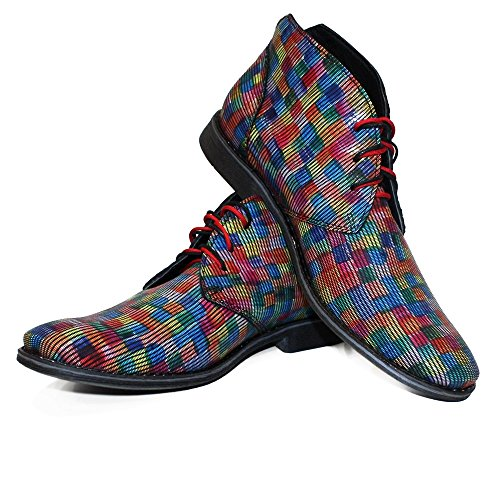 Graphico Ankle PeppeShoes Chukka Handmade Boots Lace Modello Leather Colorful Italian Smooth up Mens Leather Cowhide UwwTR5q
