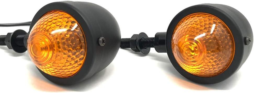 Motorbike Indicators Turn Signals Retro Classic Custom Bikes Trikes Black Metal