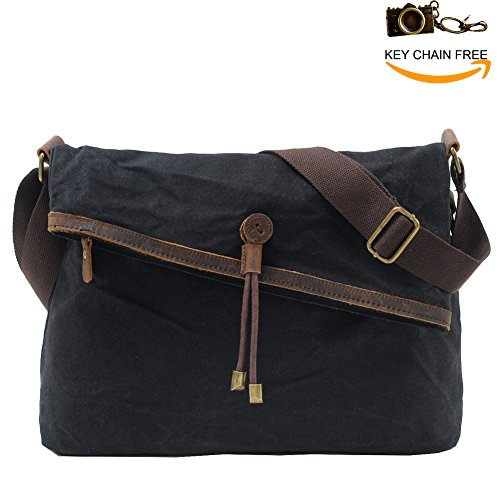 Crossbody Bags for Women Waxed Canvas Messenger Purse Over The Shoulder Bag Unisex Satchel Hobo Purses for Men Retro Genuine Leather Waterproof (Black)